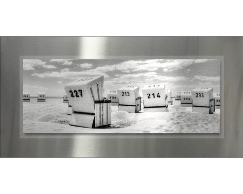 Tableau en métal Grey Beach Chairs 50x100 cm
