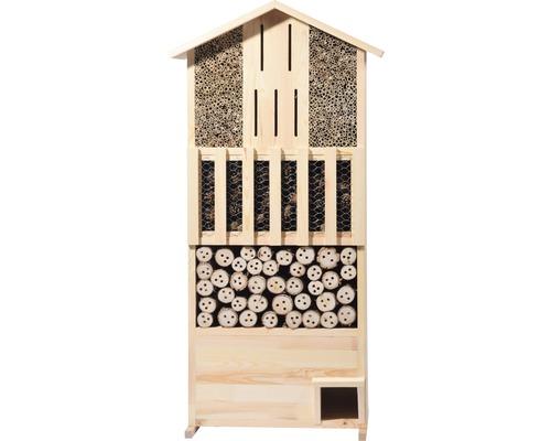 Hôtel à insectes XXL paroi avec abri pour hérissons 58 x 30 x 110 cm