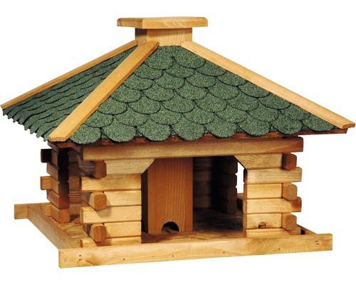 Abri-mangeoire pour oiseaux rustique carré avec bardeaux verts 50x50x38cm