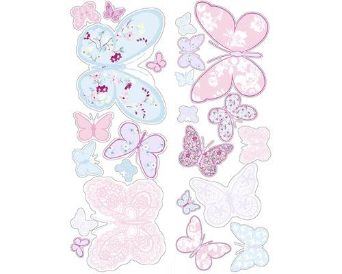 Autocollant mural Papillons rose 25x70 cm