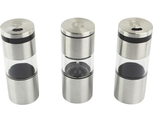 Récipient à épices, moulin à épices, Tenneker® kit de 3 avec aimants, acier inoxydable argenté