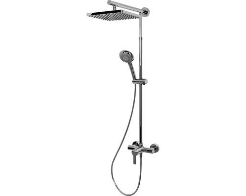 Colonne de douche avec mitigeur monocommande Schulte Classic DuschMaster Rain ExpressPlus EP9621 02 carré chrome