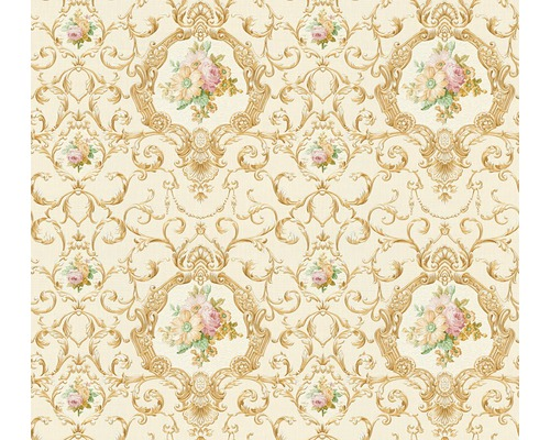 Papier Peint Intisse 34391 5 Chateau 5 Ornements Floral Blanc Or
