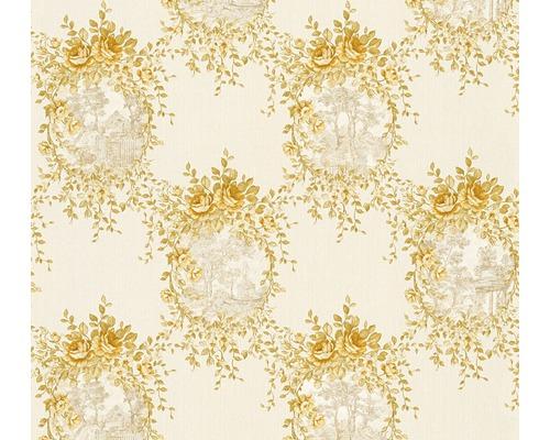 Papier Peint Intisse 34499 3 Chateau 5 Bouquet De Roses Blanc Or