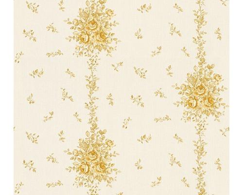 Papier Peint Intissé 34500 3 Chateau 5 Rameau De Roses Blanc Or