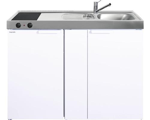 Mini-cuisine stengel Kitchenline MK120, largeur 120 cm, bac à droite blanc brillant 1112000103100