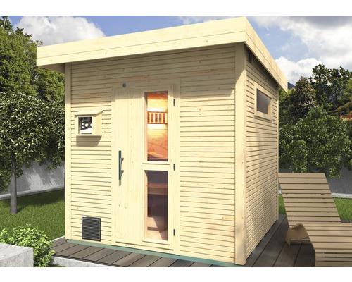 Chalet sauna Weka Kuopio avec poêle 9kW et commande externe, avec portes en bois et verre à isolation thermique