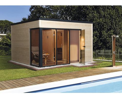 Chalet sauna Weka Cubilis avec poêle 7,5kW et commande numérique avec porte entièrement vitrée couleur graphite