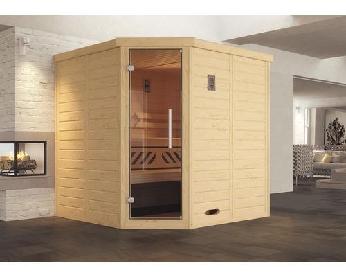 Sauna en bois massif Weka Kemi d''angle GT taille 1 avec poêle 7,5kW et commande numérique avec porte entièrement vitrée couleur graphite