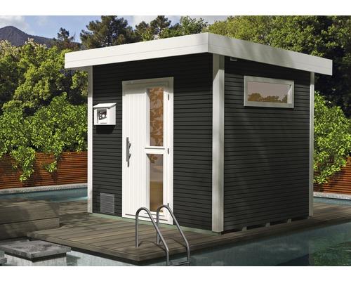 Chalet sauna Weka Kuopio avec poêle 9kW et commande externe, avec portes en bois et verre à isolation thermique, anthracite/blanc