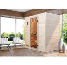 Sauna en bois massif Weka Valida GT taille 3 avec poêle 9kW et commande intégrée, avec porte entièrement vitrée en verre transparent-thumb-0