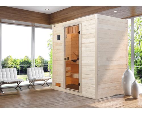 Sauna en bois massif Weka Valida GT taille 3 avec poêle 9kW et commande intégrée, avec porte entièrement vitrée en verre transparent-0