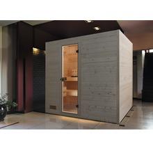 Sauna en bois massif Weka Valida GT taille 4 avec poêle 9kW et commande intégrée, avec porte entièrement vitrée en verre transparent-thumb-0