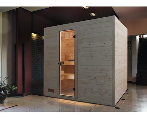 Sauna en bois massif Weka Valida GT taille 4 avec poêle 9kW et commande intégrée, avec porte entièrement vitrée en verre transparent-0