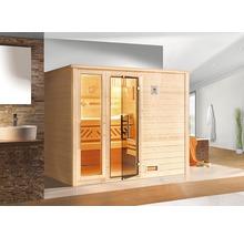 Sauna en bois massif Weka Bergen GTF taille 3 avec poêle bio 7,5kW et commande numérique, avec fenêtre et porte entièrement vitrée couleur graphite-thumb-0