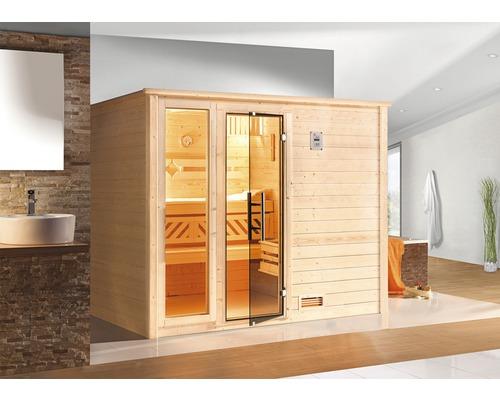 Sauna en bois massif Weka Bergen GTF taille 3 avec poêle bio 7,5kW et commande numérique, avec fenêtre et porte entièrement vitrée couleur graphite-0