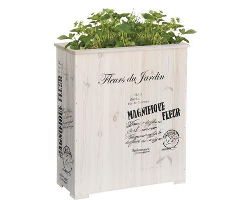 """Jardinière surélevée """"Magnifique Fleur"""" blanc"""