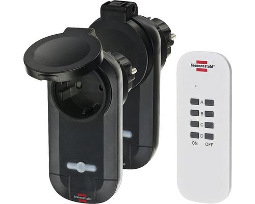 Set interrupteur télécommandé Comfort Line 2 pièces IP44 noir Brennenstuhl 1507030