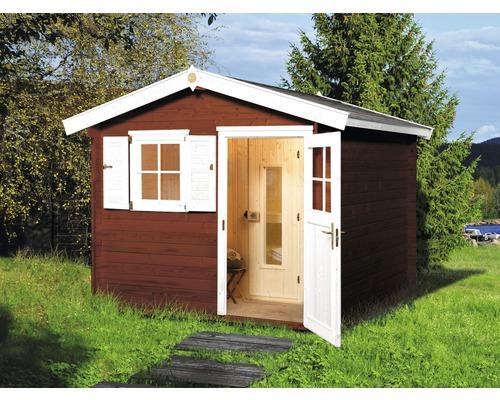 Chalet sauna Weka Mikkeli avec poêle 7,5 avec commande numérique et porte en bois avec verre isolant thermiquement