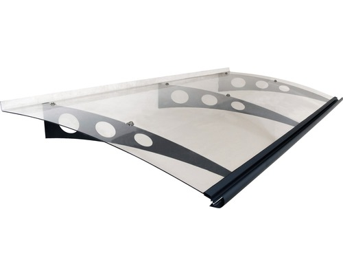 Auvent ARON Protega 205x90,5 cm anthracite polycarbonate transparent