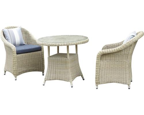 Ensemble de meuble de jardin Melbourne rotin synthétique 2-places beige  3-pièces