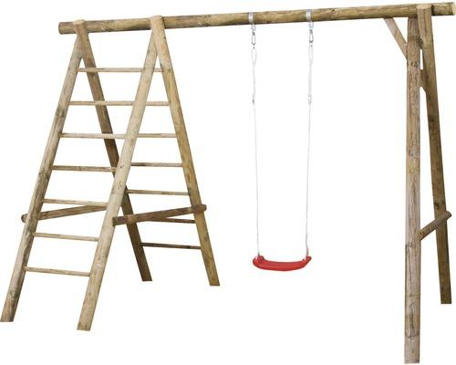 Balançoire simple en bois avec échelle naturel