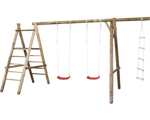 Balançoire double bois avec échelle d''esclade, échelle nature