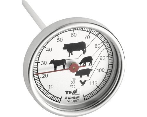 TFA Dostmann thermomètre de cuisson thermomètre à viande thermomètre de four thermomètre à barbecue analogique Ø 51 mm plage de température 10-110 °C résistant à la chaleur différents niveaux de cuisson acier inoxydable