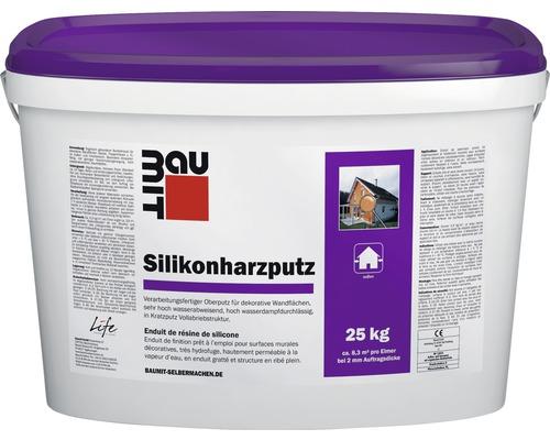 Enduit de façade à la résine de silicone avec structure de crépi griffé 3 mm blanc 25 kg