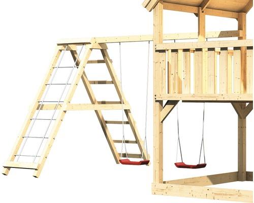 Extension de balançoire double AKUBI Lotti, Danny, Luis avec portique d'escalade, rampe avec filet-0