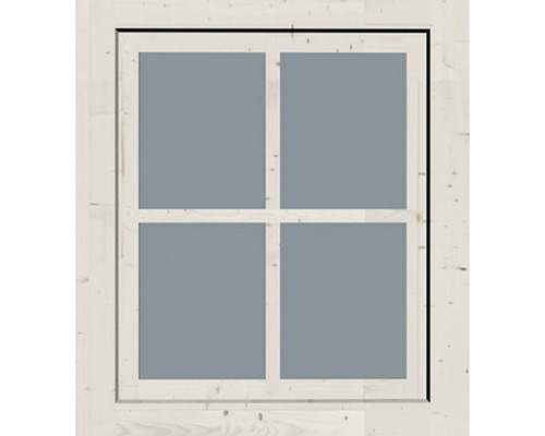 Fenêtre à un vantail pour abri de jardin 28/38 mm Karibu, ferrure oscillo-battante avec kit de bandes d'adaptation 38 mm 69x80 cm blanc ivoire