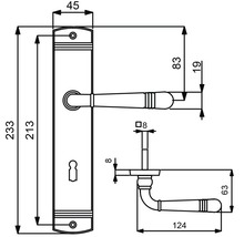 Poignée sur plaque longue Sale laiton/poli cylindre profilé avec poignée x2 pour portes d'appartement gauche/droite-thumb-1