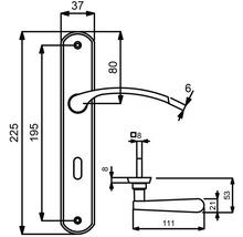 Poignée sur plaque longue Amos laiton/bruni/satiné cylindre profilé avec bouton + poignée pour portes d'appartement à droite-thumb-1