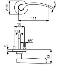 Poignée sur rosace Amos couleur acier inoxydable/satiné cylindre profilé avec bouton + poignée pour portes d'appartement à gauche-thumb-1