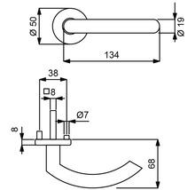 Poignée sur rosace Jilian acier inoxydable/satiné cylindre profilé avec bouton + poignée pour portes d''appartement à gauche-thumb-1