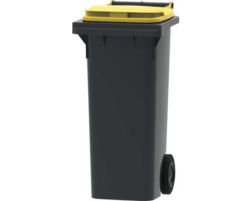 Collecteur de déchets et de recyclage à 2roues MGB 80l gris/jaune