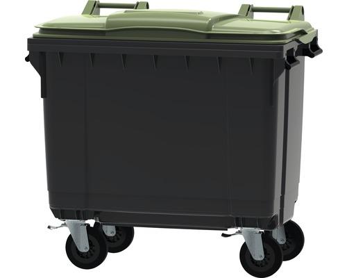 Collecteur de déchets et de recyclage à 4roues MGB 660l gris/vert