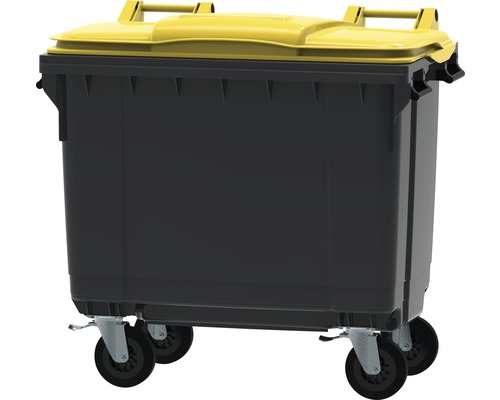 Collecteur de déchets et de recyclage à 4roues MGB 660l gris/jaune