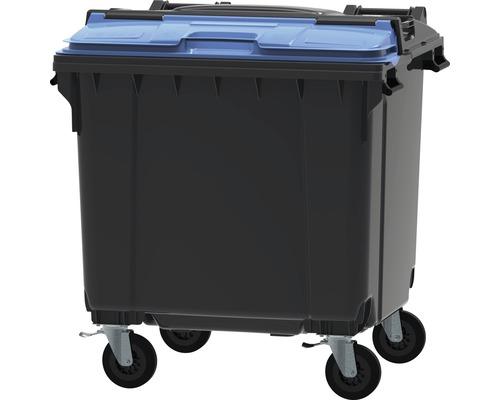 Collecteur de déchets et de recyclage à 4roues MGB 1.100l Split Lid gris/gris/bleu