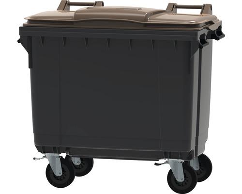 Collecteur de déchets et de recyclage à 4roues MGB 660l gris/marron