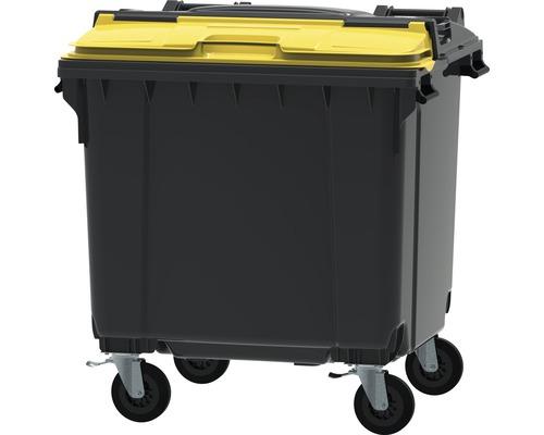 Collecteur de déchets et de recyclage à 4roues MGB 1.100l Split Lid gris/gris/jaune