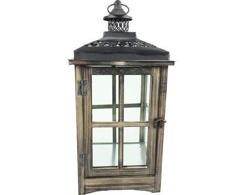 Lanterne bois-métal-verre 23x23x50cm marron