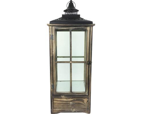 Lanterne bois-métal-verre 32x32x80cm marron