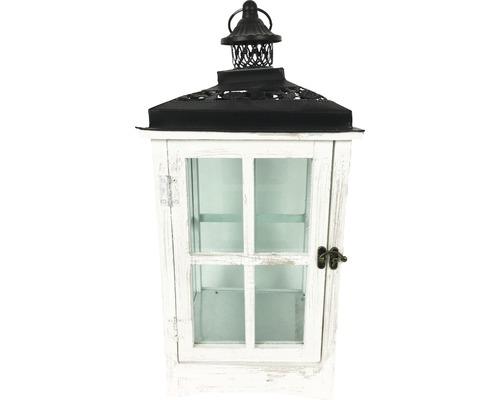 Lanterne bois-métal-verre 23x23x50 cm blanche