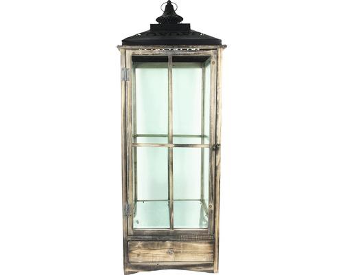 Lanterne bois-métal-verre 39x39x110cm marron