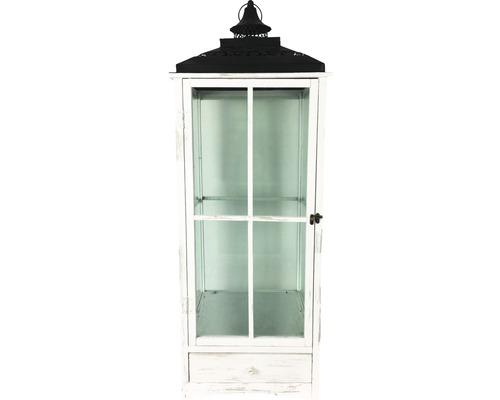 Lanterne bois-métal-verre 39x39x110 cm blanche