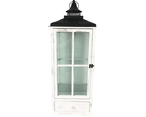Lanterne bois-métal-verre 32x32x80cm blanc