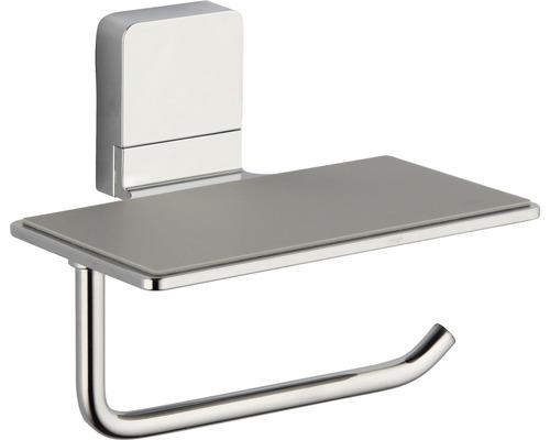 Support pour papier toilette REIKA Ovaro avec tablette magnétique chromé sans plaque de montage