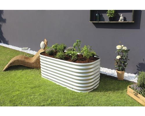 Jardinière surélevée classique Vitavia Basic 630 zincalume 162,1x82,1x63cm argent