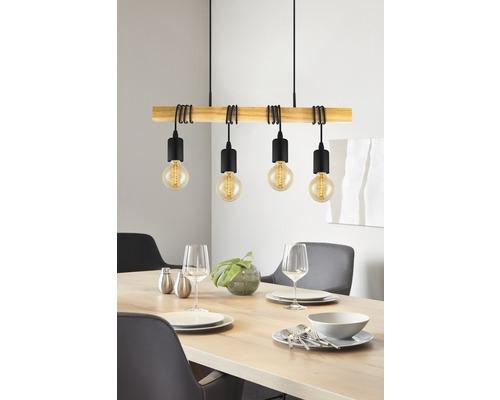 Suspension acier/bois 4 lumières hxlxL 1100x105x700 mm Townshend bois clair/noir